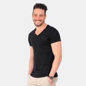 Camiseta Basica Masculina Disky Gola V Preta