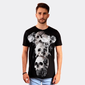 Camiseta Derek Ho Cavera de Flores Preta