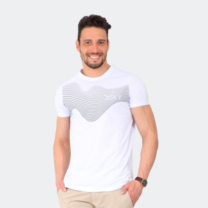 Camiseta Masculina Disky Abstrato Branca