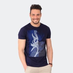 Camiseta Masculina Disky Flower Marinho