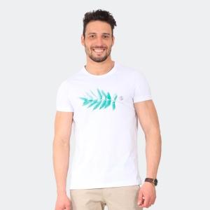 Camiseta Masculina Disky Folha Branca