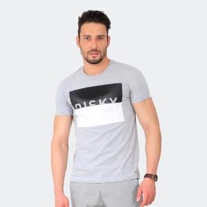 Camiseta Masculina Disky Negative Form Mescla Cinza