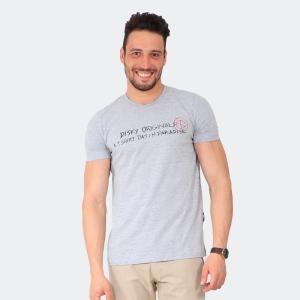 Camiseta Masculina Disky Originals Mescla Cinza