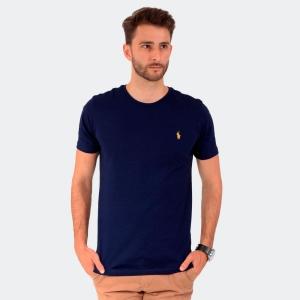 Camiseta Ralph Lauren Masculina Slim Fit Azul com Logo Amarela
