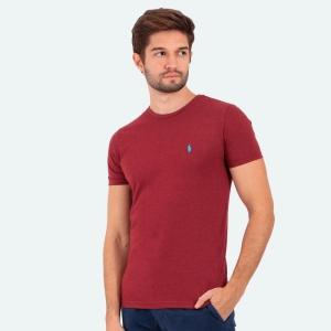 Camiseta Ralph Lauren Masculina Slim Fit Mescla Vinho com Logo Azul