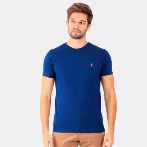 Camiseta Ralph Lauren Slim Fit Azul com Logo Rosa
