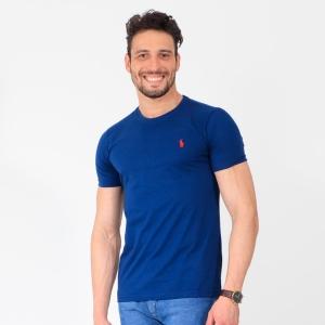Camiseta Ralph Lauren Slim Fit Azul com Logo Vermelha