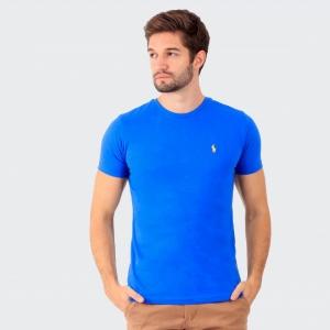 Camiseta Ralph Lauren Slim Fit Azul Royal com Logo Amarela