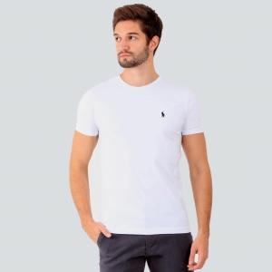 Camiseta Ralph Lauren Slim Fit Branca com Logo Preta