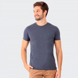 Camiseta Ralph Lauren Slim Fit Chumbo com Logo Verde