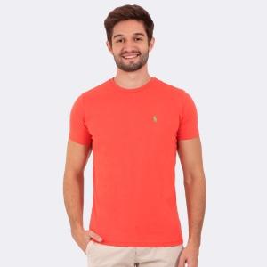 Camiseta Ralph Lauren Slim Fit Coral com Logo Verde