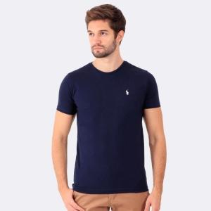 Camiseta Ralph Lauren Slim Fit Marinho com Logo Branca
