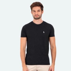 Camiseta Ralph Lauren Slim Fit Mescla Chumbo com Logo Branca