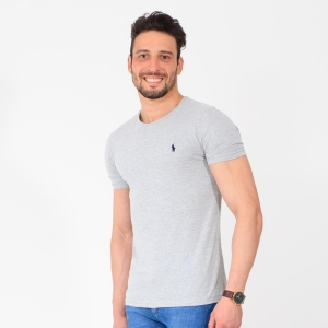 Camiseta Ralph Lauren Slim Fit Mescla Escuro com Logo Marinho
