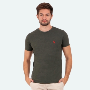 Camiseta Ralph Lauren Slim Fit Mescla Militar com Logo Vermelha