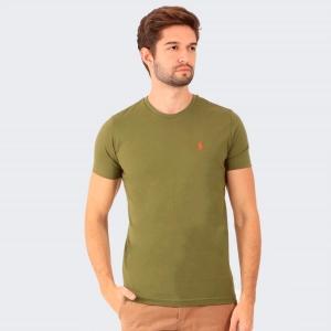 Camiseta Ralph Lauren Slim Fit Militar com Logo Laranja