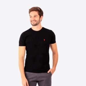 Camiseta Ralph Lauren Slim Fit Preta com Logo Vermelha