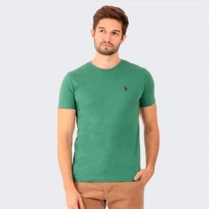 Camiseta Ralph Lauren Slim Fit Verde com Logo Roxa