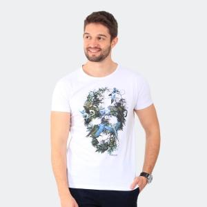 Camiseta Skuller Masculina Bird Skull Branca