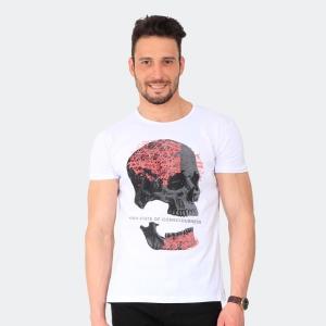 Camiseta Skuller Masculina Broken Skull Branca