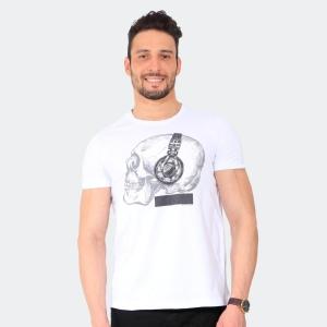 Camiseta Skuller Masculina Earphone Skull Branca