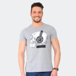 Camiseta Skuller Masculina Earphone Skull Mescla