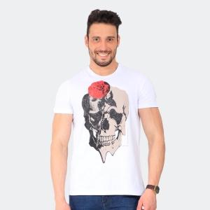 Camiseta Skuller Masculina Skull Rose Branca