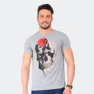Camiseta Skuller Masculina Skull Rose Mescla