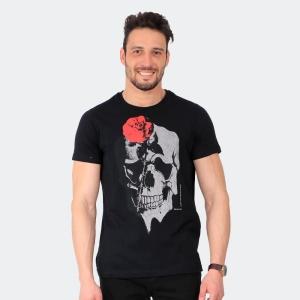 Camiseta Skuller Masculina Skull Rose Preta