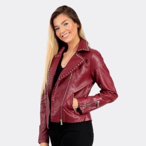 Jaqueta Biker Star Feminina Vinho