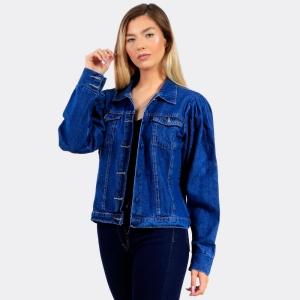 Jaqueta Jeans Estonada Escura