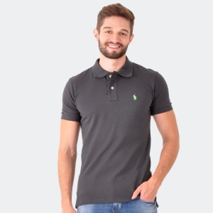Polo Ralph Lauren Masculina Custom Fit Chumbo