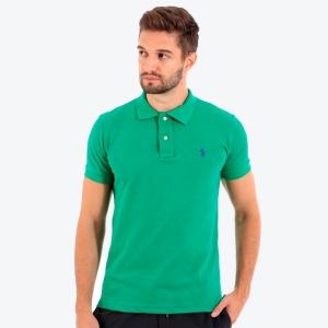 Polo Ralph Lauren Masculina Custom Fit Verde Bandeira