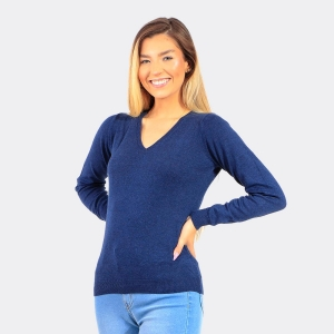 Tricot Aishty Feminino Gola V Azul
