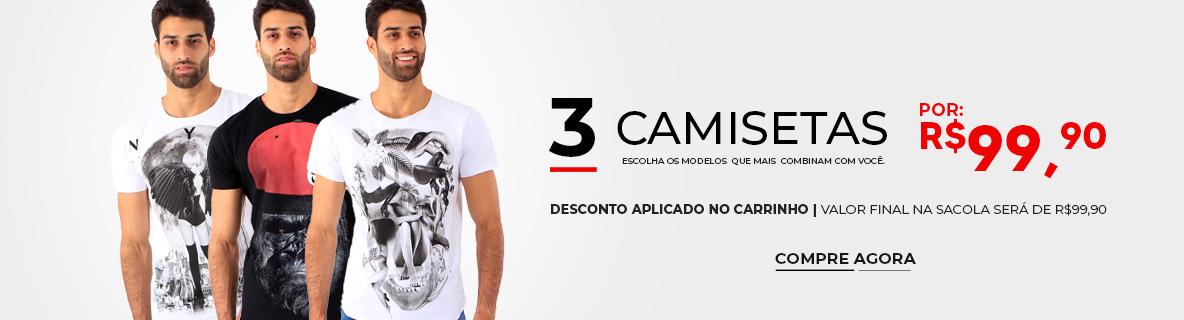 3 Camisetas Derekho por R$99,90