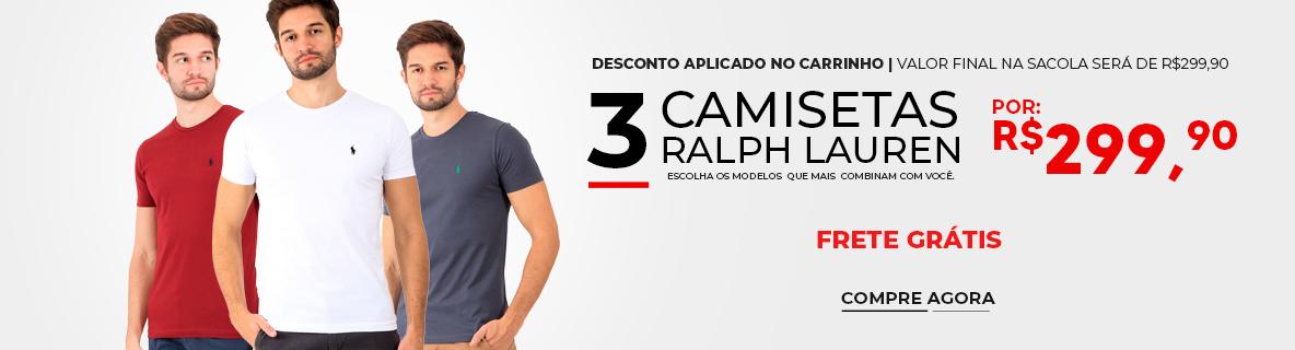 3 Camisetas Ralph Lauren por 299,90