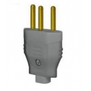 Plug Macho 2p+T 10a Cinza 2729