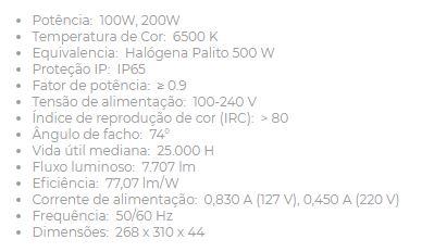 Projetor Led 100w 6500k Biv 303126