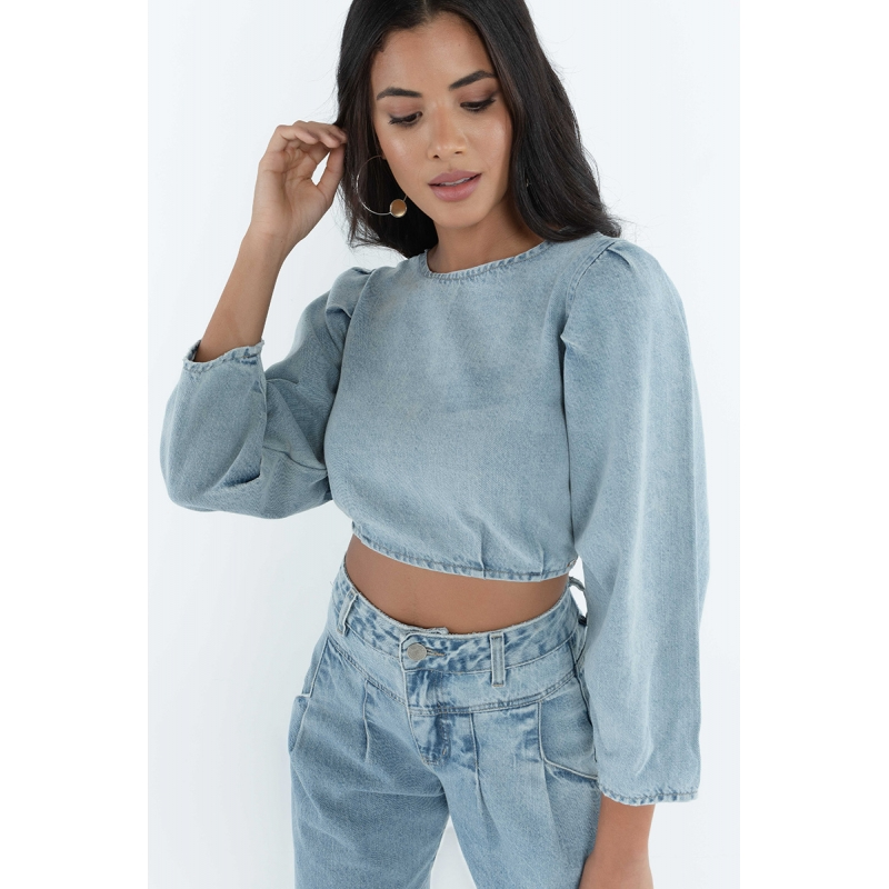 BLUSA CROPPED JEANS DELAVE