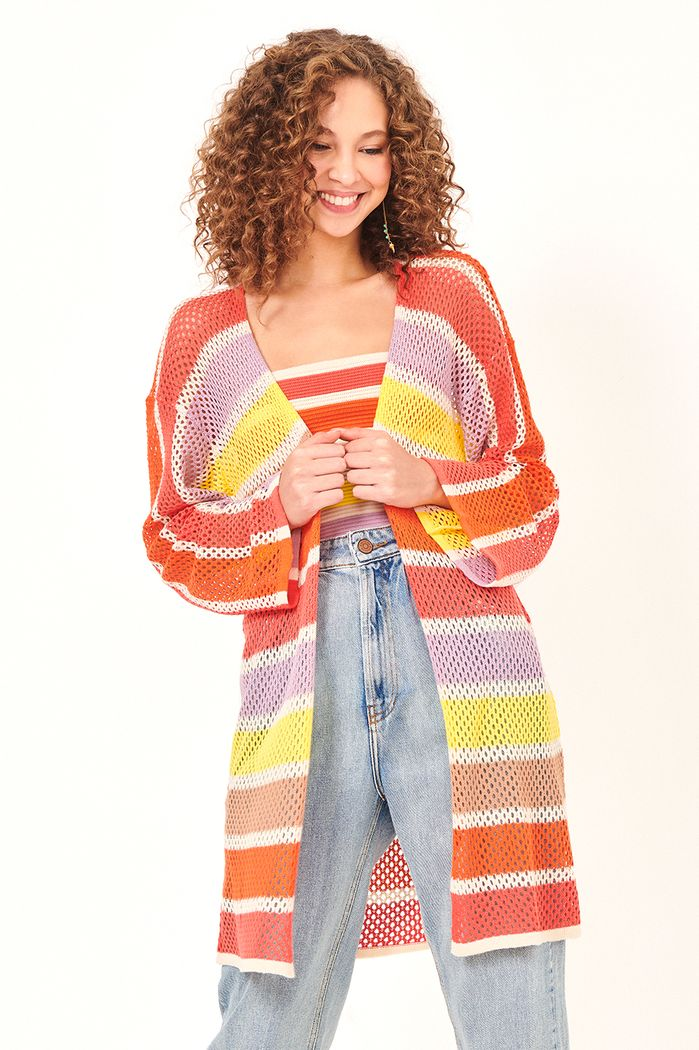 DRESS TO  CARDIGAN TRICOT LISTRAS COLORIDAS