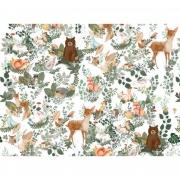 Papel de Parede Woodforest  H=3m Branco Vinil Adesivo