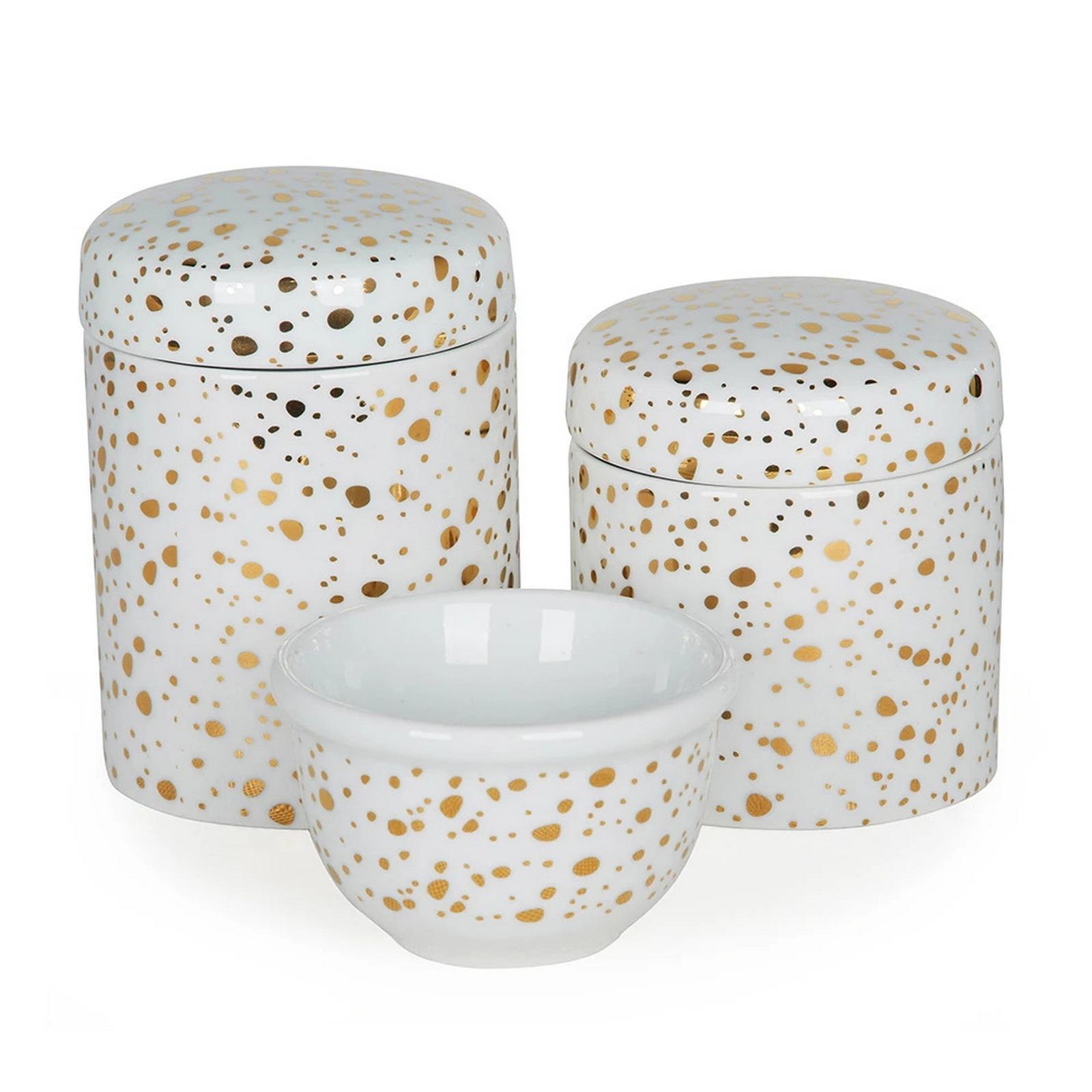 Kit Higiene Céu Estrelado Dourado Fundo Branco