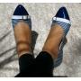 Sapatilha Azul Listrada com Fivela MegaChic