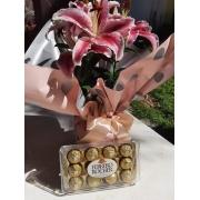 Arranjo de lírio plantado com Ferrero