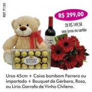 Presente Especial com Urso + Chocolate + Bouquet