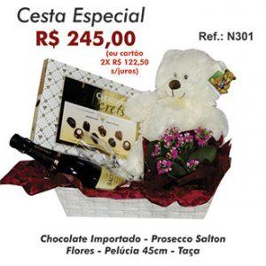 Cesta Especial com Urso e Chocolates