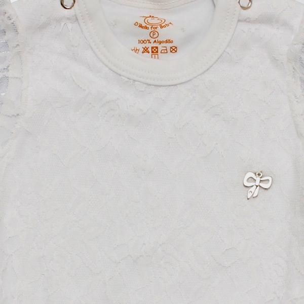 Body de Renda Manga Longa Branco D`Bella For Baby