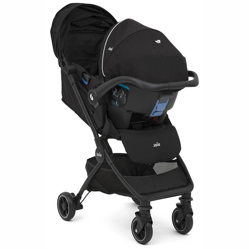 Carrinho Travel System Pact Preto + Bebê Conforto Gemm + Base - Joie
