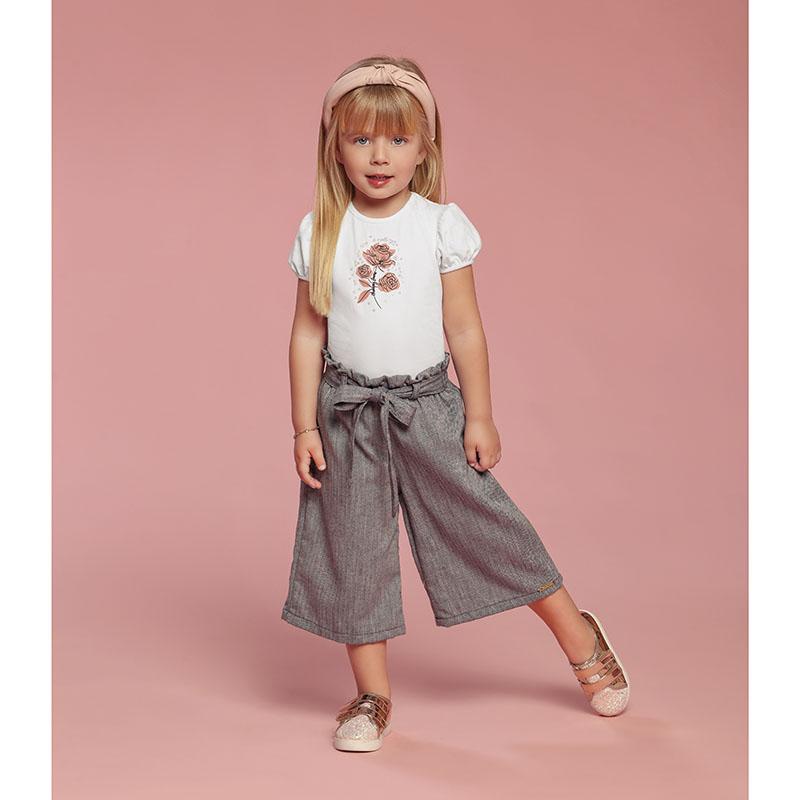 Conjunto Bebê Menina Calça Pantacourt e Blusa Rosas Charpey