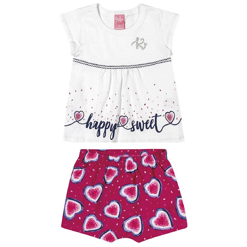 Conjunto Blusa e Shorts Kinha em Meia Malha Branco e Rosa Primavera Verão